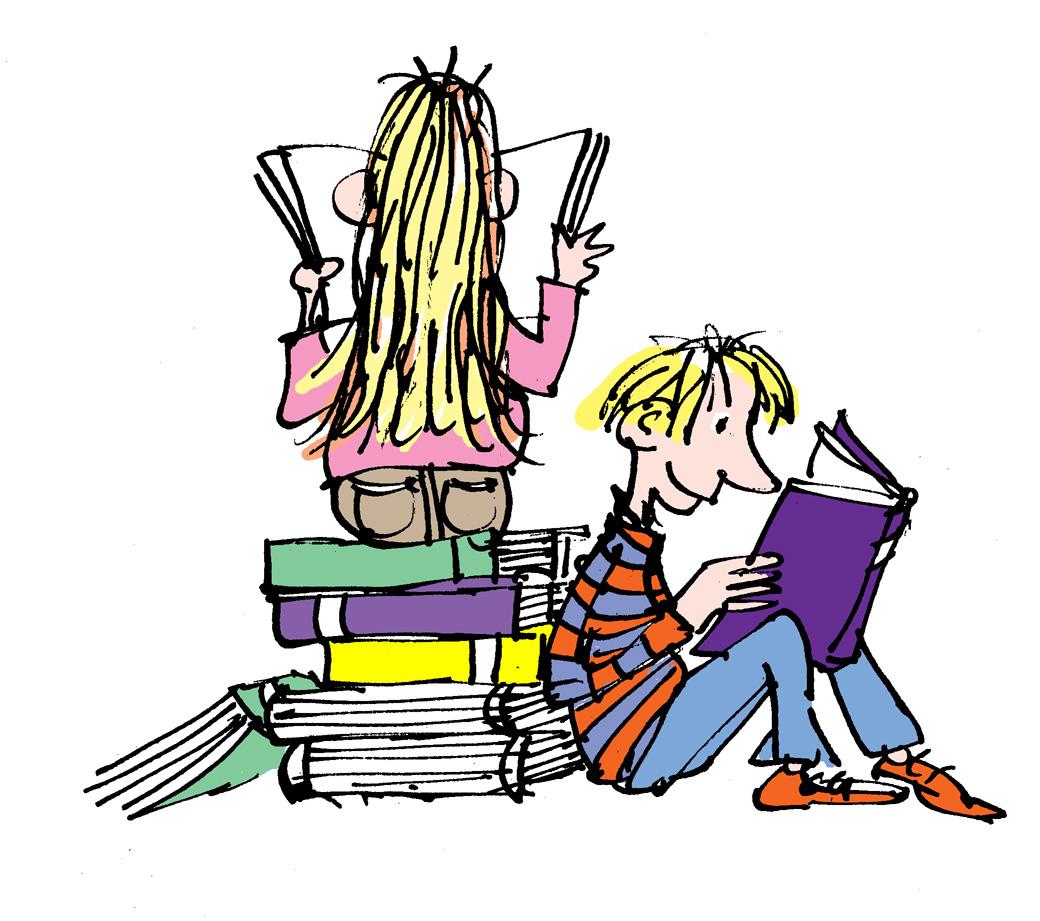 Piirroskuva, jossa kaksi lasta lukee kirjoja kirjapinon päällä ja sen vieressä.